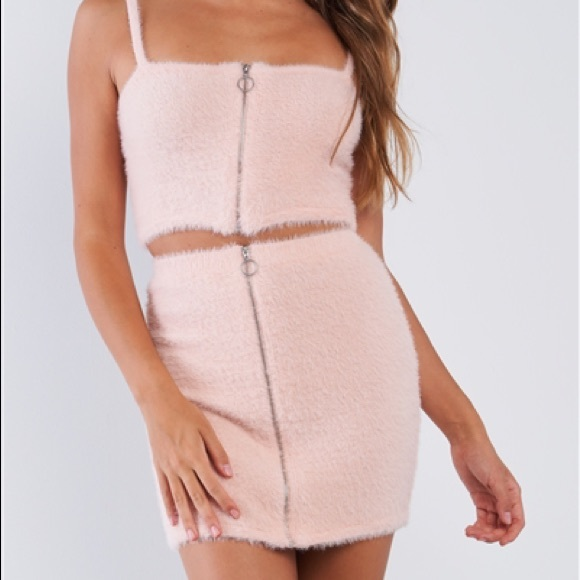 Other - Fuzzy Pink Cami Crop Top/Skirt Set